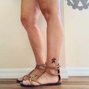 Sam Edelman Camel Ankle Zip Sandals Leather Sz 10
